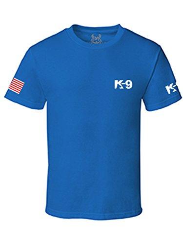 Gs-eagle Men's K-9 Police Graphic T-Shirt Large Royal Blue