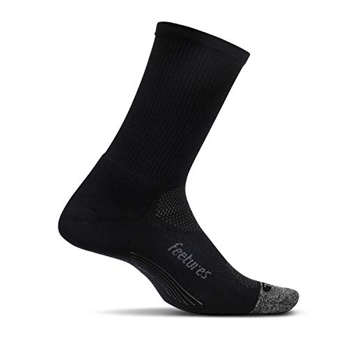Feetures - Elite Light Cushion - Mini Crew - Athletic Running Socks for Men and Women - Black - Size Large