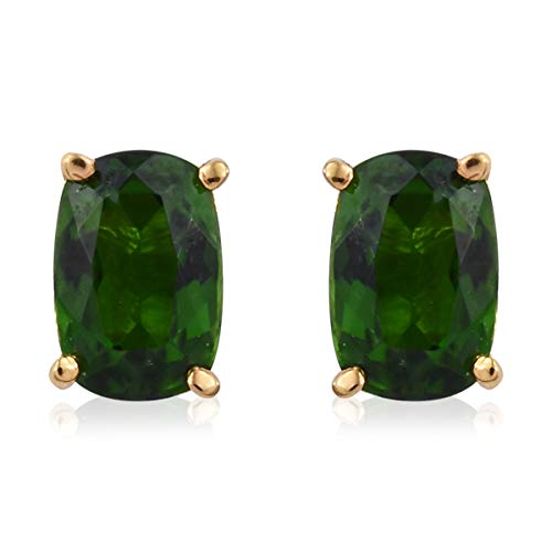 Stud Solitaire Earrings 925 Sterling Silver Vermeil Yellow Gold Cushion Chrome Diopside Gift Jewelry for Women Cttw 0.9