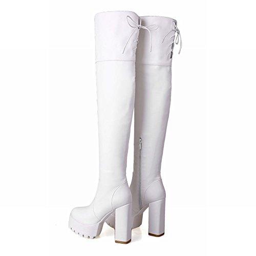 Latasa Womens Fashion Lace-up Zipper Block High-heel Platform Thigh High Dress Boots White d9BqRVi3x