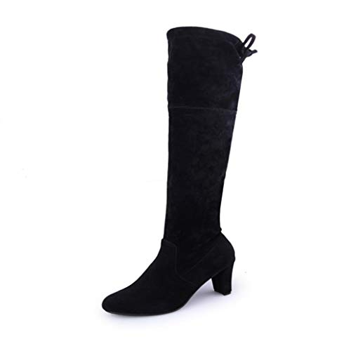 Knee Heels High Shoes Boots Stylish Faux Slim Black Riou Over Women The Stretch High Boots qfwz7O