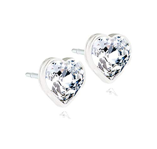 (Blomdahl Medical Plastic Earrings with 6 mm Heart Crystal - Hypoallergenic for Sensitive Ears ... (Clear Crystal))