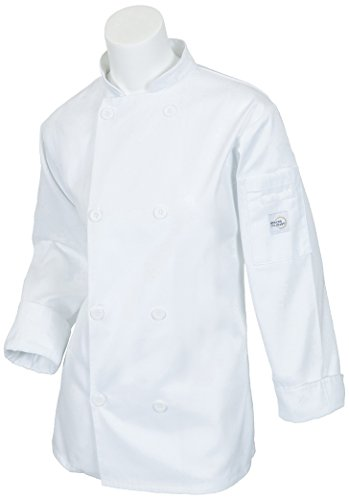 Mercer Culinary M60020WHM Millennia Women's Cook Jacket with Traditional Buttons, Medium, White (Jacket Ladies Chefs Traditional)