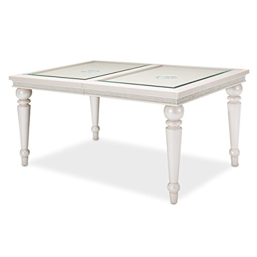 Room Dining Furniture Aico - Michael Amini- Aico Furniture Glimmering Heights 4 Leg Dining Table in Ivory