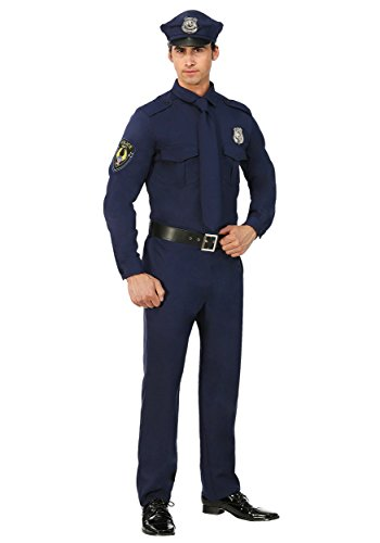 Men's Police Costume Cop Costume for Adults Large Blue -