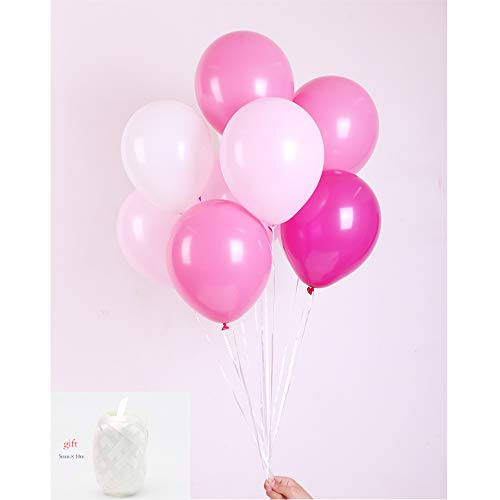 - Latex Balloon 100 pcs 12 inch : White and Light Pink and Rose red and Light Rose Latex Balloons