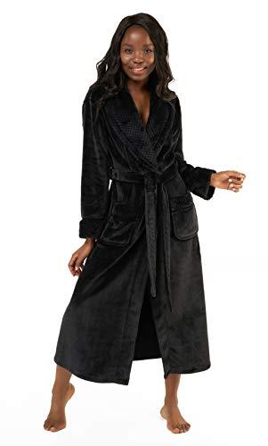 Women's Plush Soft Warm Fleece Bathrobe, Comfy Womens Robe Black