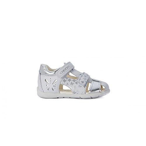 Geox Girls' B Kaytan 31-K, Off White/Silver, 23 EU/7 M US Toddler by Geox
