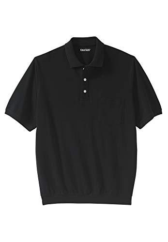 KingSize Men's Big & Tall Banded Bottom Pocket Pique Polo Shirt, Black Big-2XL