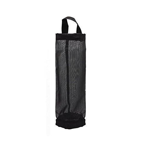 (FIOTOK Plastic Bag Holder Dispenser Hanging Folding Mesh Garbage Bag Trash Recycling Bags Organizer for Kitchen Black)
