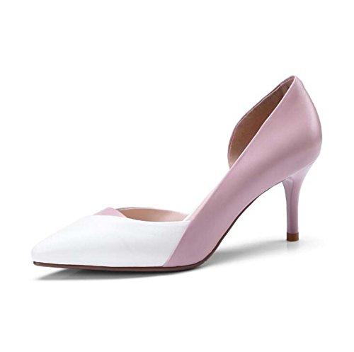 Zapatos de Tacón Alto para Mujeres Zapatos de Tacón Alto con Punta en Punta Zapatos Negros/Rosas Talla 34-39 (Color : Rosado, Tamaño : 35)