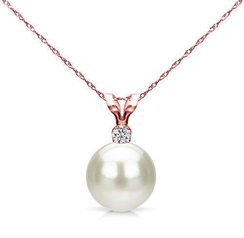 White Saltwater Cultured Japanese Akoya Pearl Diamond Pendant Necklace 14K Rose Gold 0.05 CTTW 7-7.5mm Bridesmaid - Rose Si1 Diamond 14k