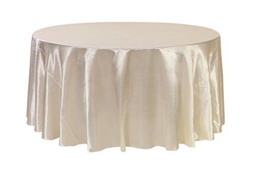 Your Chair Covers - 132 inch Round Satin Tablecloth Ivory, Round Table Linens for 6 ft Round Banquet Tables