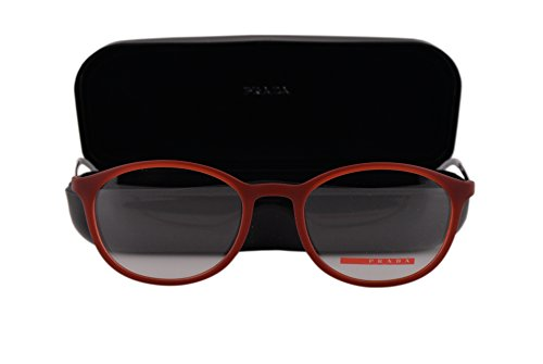 Prada PS04HV Eyeglasses 53-19-140 Transparent Bordeaux Rubber U621O1 - Frames Prada Red