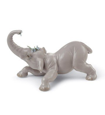 Lladro Porcelain Figurine Baby Elephant with Blue (Lladro First Flowers)