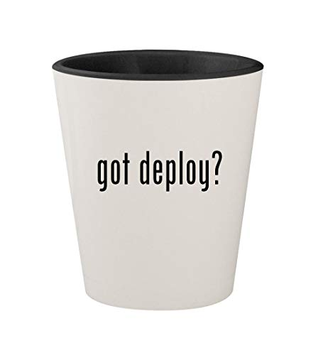 - got deploy? - Ceramic White Outer & Black Inner 1.5oz Shot Glass