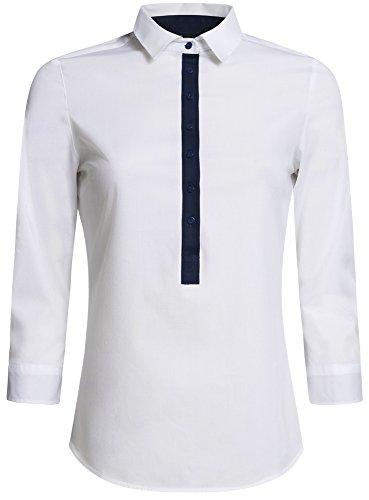 Ajuste Femme Ultra Blanc Basique oodji Chemise 1000n Coupe 5xwX6Ocqc8