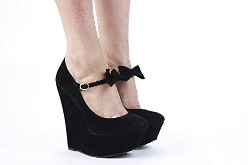 High Abendgröße Plattform New 3 Keil Sandalen Womens Schuhe Brautjungfer 8 Brautparty Damen Heels Black qZEUxp
