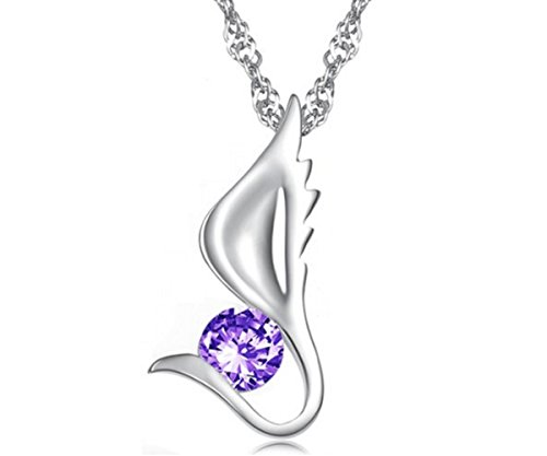 Pendant Star Angelic (KATGI Fashion Austrian Purple Crystal Angel Wing Pendant Necklace)