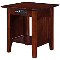 Nantucket End Table with Charger in Walnut