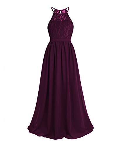 Lace Flower Girls Dresses Halter Chiffon Junior Bridesmaid Gowns Long Wedding Party Dress US 5 Grape
