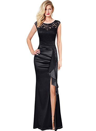 (VFSHOW Womens Black Ruched Ruffles Keyhole Back Floral Lace High Split Formal Evening Wedding Maxi Dress 2375 BLK S)