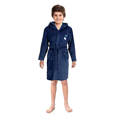 (Kids Hooded Robe,Plush Coral Fleece Kimono Bathrobe,Cute Animal Embroidered Warm Bedtime Wrap Sleepwear for)