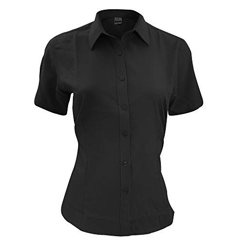 Henbury- Camisa de trabajo de manga corta transpirable antibacterias para mujer Negro