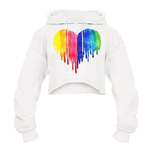 URIBAKE ❤ Women's Crop Tops Hooded 3D Print Heart Pattern Long Sleeve Couples Hoodies Short Top Blouse Shirts