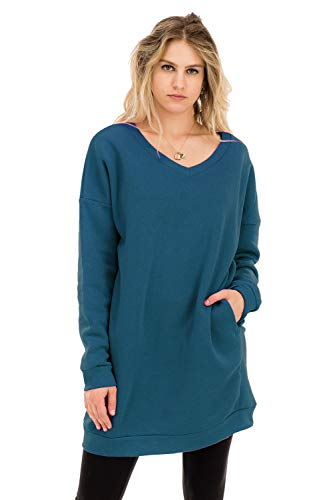 NANAVA Casual Loose Fit Long Sleeves Over-Sized Tunic Sweatshirts Teal L/XL