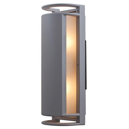Access Lighting 20343MG-SAT/RFR Poseidon 2-Light Wet Location Shielded Bulkhead,  Satin with Ribbed Frosted Glass