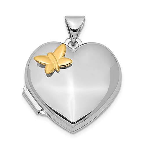 Brilliant Bijou Solid .925 Sterling Silver Rhodium-Plated Heart w/Gold-Plating Butterfly Locket mm