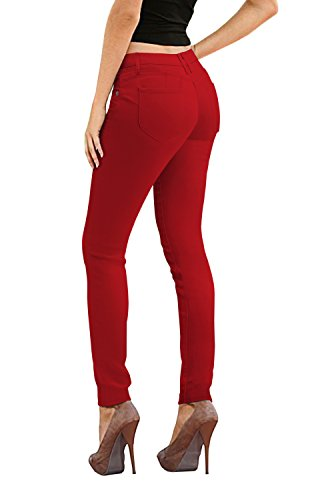 HyBrid & Company Women's Butt Lift Stretch Denim Jeans-P37385SK-RED-11
