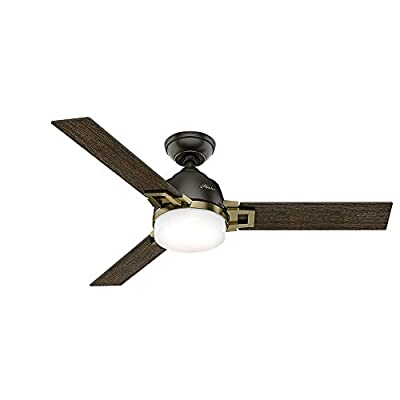 """Hunter 59220 48"""" Leoni Ceiling Fan with Light with Handheld Remote, Small, Noble Bronze/Modern Brass"""