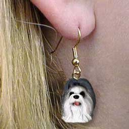 Conversation Concepts Shih Tzu Gray Earrings Hanging Shih Tzu Earring