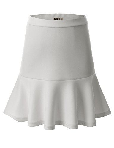 Doublju Women Casual Solid Color Strechy Fit Skater Skirt IVORY,L