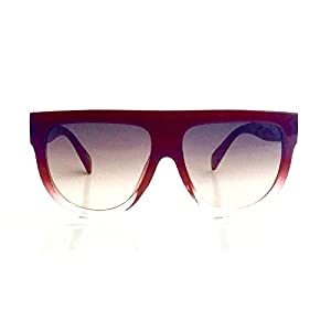 Flat Top Square Aviator Gradient Frame Sunglasses Shadow Ombre (Burgundy)