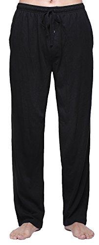 RENZER Men's Pajamas Pants 100% Knit Cotton Sleep Long Lounge Pants-Black M Cotton Knit Lounge Pants