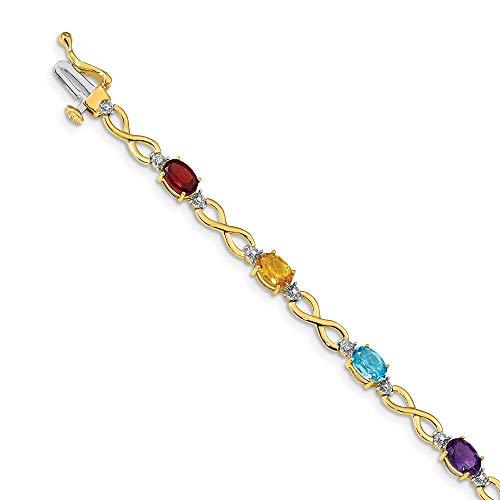 FB Jewels 14k Yellow Gold Rainbow Gemstone & Diamond Bracelet