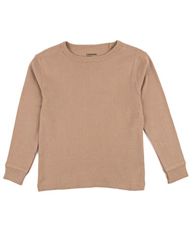 (Leveret Long Sleeve Solid T-Shirt 100% Cotton (2 Years, Beige))