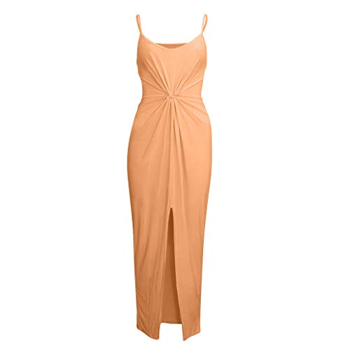 Solid Color Suspender Dress Ladies Fashion Lacing Front Slit Sleeveless Pleated Knot Tight Dress Summer Long Dress MEEYA Orange