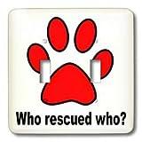 3dRose LLC lsp_161109_2 que Dog Lovers perro rescatado que rescate doble interruptor de palanca, rojo