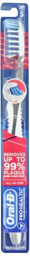 Oral-B CrossAction Pro-Santé 7 Brosse à dents douce soies, (les couleurs peuvent varier) (pack de 4)