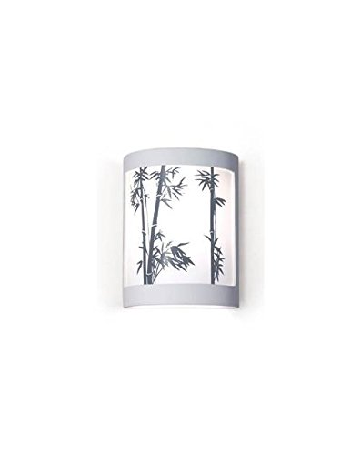 Silhouette Bamboo Stalks Design Ceramic Wall Sconce (Sagebrush Glaze)
