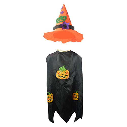 Jarsh Toddler Girl Boy Witch Series Children's Halloween Cloak Cloak + Hat Two-Piece Set -