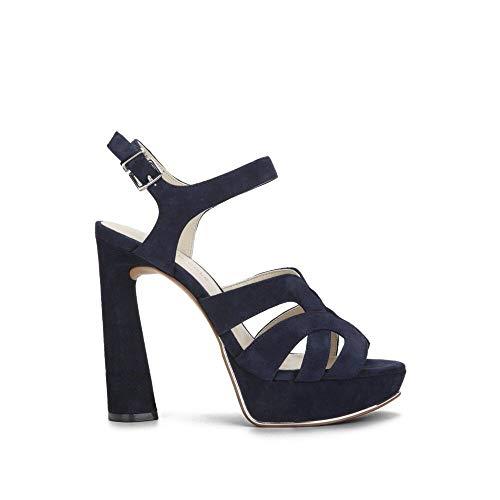 Kenneth Cole New York Women's Nealie Platform Heeled Sandal, Marine Suede, 8 M US