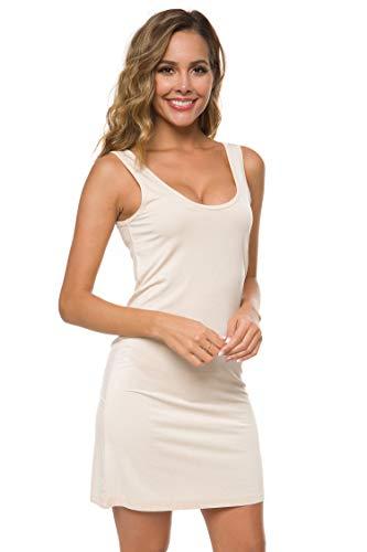 Stretch Top Dress - EaseWay Women's Casual Under Long Stretch Tank Top Sleeveless Dress Nude