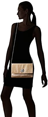 Jessica McClintock Nora Shimmer Brooch Large Envelope Clutch