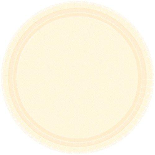 Amscan Durable Plain Round Party Plates Tableware, Vanilla Crème, Paper, 9