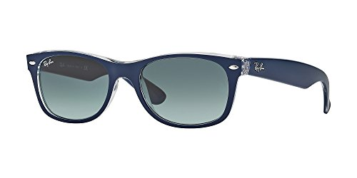 Ray Ban RB2132 NEW WAYFARER 605371 55M Matte Blue On Transparent/Grey Gradient Sunglasses For Men For Women